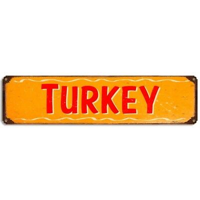 Turkey Metal Sign Barbecue Rustic Vintage BBQ Kitchen Menu Decor 20 x 5