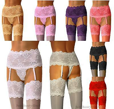 Suspender Wide Lace Belt with Lace Top Stocking & Briefs , Size S, M, L, XL,