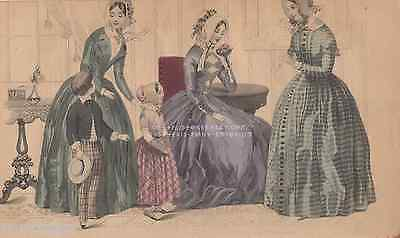 Victorian-Gothic-Green-Fashion-Dresses-Children-1845 ANTIQUE VINTAGE ART PRINT