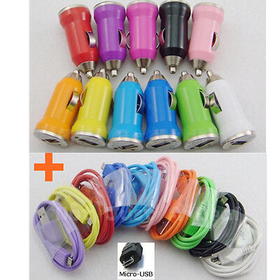 Multi-Color Car Charger& USB Sync Data Cable for HTC Nokia Galaxy Moto LG Kindle