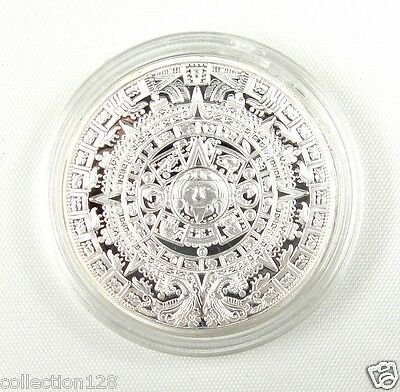 Mayan Aztec Calendar Stone Medallion SILVER-PLATED, Clear Plastic Case