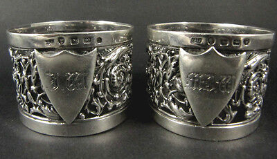 2 Antique Victorian sterling silver napkin rings 1888 George Unite
