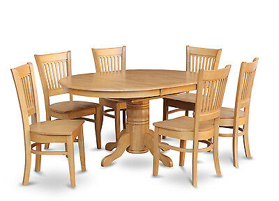 7-PC OVAL DINETTE KITCHEN DINING ROOM SET TABLE w/ 6 WOOD SEAT CHAIRS LIGHT OAK