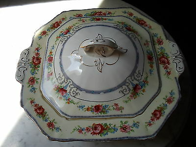 VINTAGE ALFRED MEAKIN ENGLAND FOOTED COVERED CASSEROLE SERVING DISH OSIRIS SHAPE