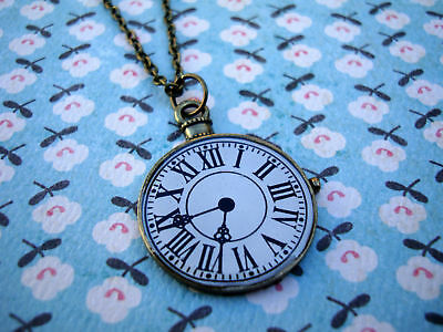 Funky Brass Clock Face Necklace Kitsch Cute Vintage Retro Watch Alice Wonderland