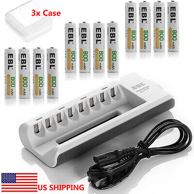 12x AAA 800mAh NI-MH Rechargeable Batteries + 8-channel AA AAA Battery Charger