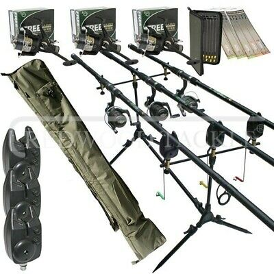 Full Carp fishing Set Up Complete 3 x Rods Reels Alarms 3+3 Holdall+Rigs&Batts