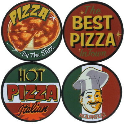 Pizza Restaurant Drink Coasters Set of 4 Pizzeria Kitchen Decor 4 x 4