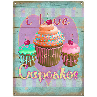 I Love Cupcakes Metal Sign Distressed Kitchen Vintage Bakery Decor 12 x 16