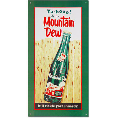 Mountain Dew Tickle Your Innards Metal Sign Vintage Soda Fountain Style 8.5 x 16