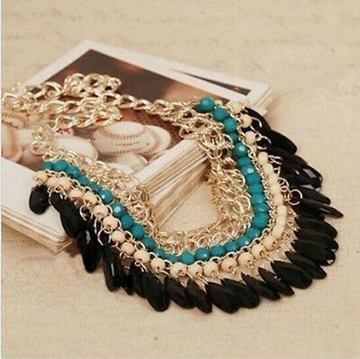 Hot Fashion Jewelry Pendant Chain Crystal Choker Chunky Statement Bib Necklace