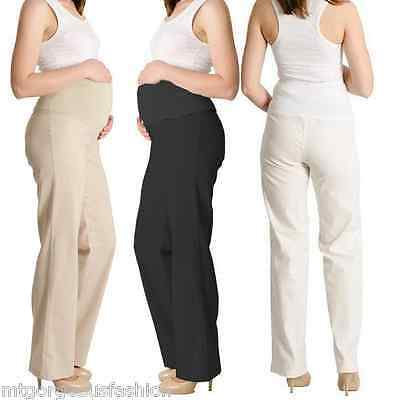 Maternity Pregnancy Linen Trousers Pants Over Bump size 8 10 12 14 16 18 Black
