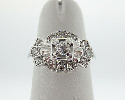Vintage Estate 0.45ct Genuine Diamonds Solid 14k White Gold Ring