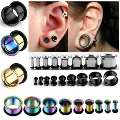 Pair 2-12MM Stainless Steel Horn O Ring Silicone Ear Tunnels Plugs Earlets Gauge