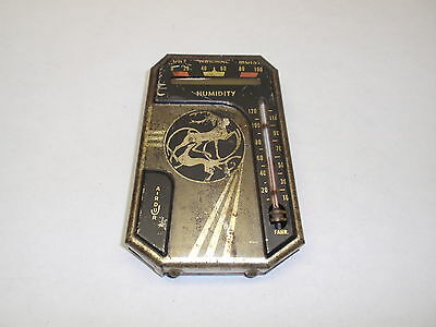 Vintage Airdur Old Metal and Glass Weather Device Humidity Thermometer Airdujr