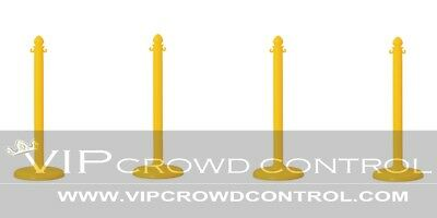 4 Pcs C-Hook Plastic Stanchion In Yellow, Vip Crowd Control