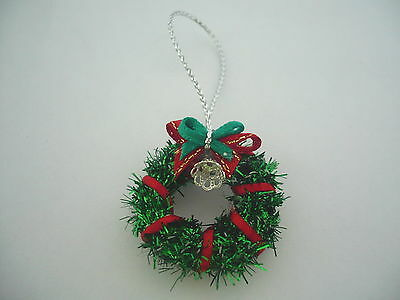 Dollhouse Miniature Green & Red with Bell Christmas Wreath Deco (2.50cm)