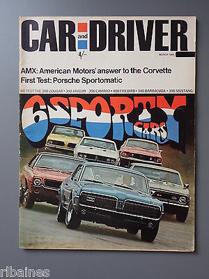 R&L Mag: Car & Driver March 1968 AMX 390 Test/Jim Wangers/Porsche Sportmatic 911