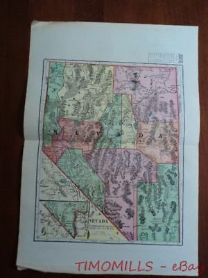 1907 Nevada Map of Bank Towns JW White Co. Antique Banking Advertising Map
