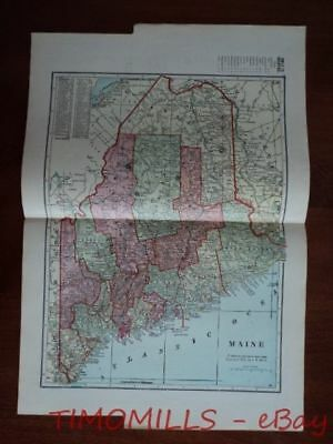 1907 Map of MAINE Bank Towns JW White Co. Antique Banking Portland National