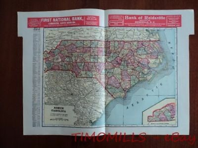 1907 Map of North Carolina Bank Towns JW White Co. Antique Bankers Register OLD