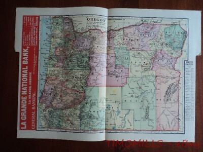 1907 Oregon Map of Bank Towns JW White Co. Antique Banking Advertising La Grande