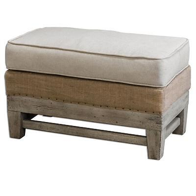 Rustic EXPOSED WOOD White Cream BENCH OTTOMAN Industrial Minimalist Seat