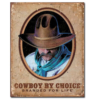 Cowboy By Choice Branded For Life Tin Sign Country Farm Decor 12.5 x 16