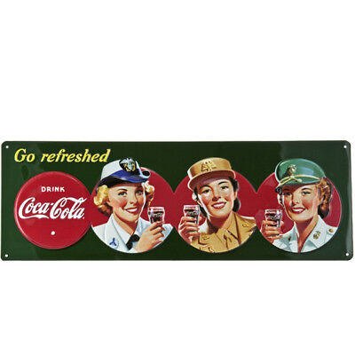 Coca-Cola Go Refreshed Military Beauties Tin Metal Sign WWII Wall Decor 19 x 6.5