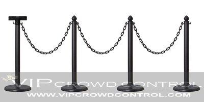 Plastic Stanchion 4Pcs Set Black + 32' Chain + Sign Bracket, Vip Crowd Control