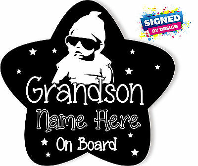 Personalised Baby On Board Car Sign ~Grandson Star shape Black
