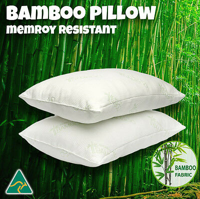 Aus Made 2 Pack Bamboo Microfibre Memory Resistant Pillow Family Bed Cover 40x70