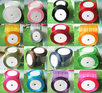 25 yards *Width 6-10 mm Satin Ribbon  Silky Sheen 16 COLORS AVAILABLE