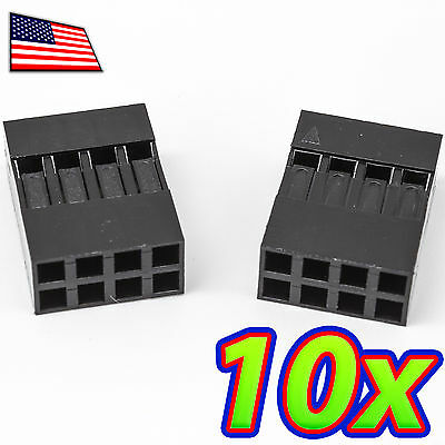 [10x] Dupont  Wire Jumper Pin Header Connector Housing - 2x4 - Male / Female