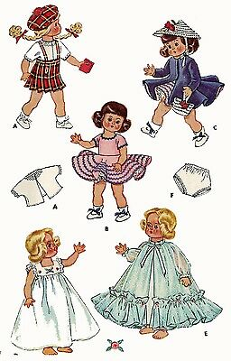 Vintage Doll Clothes Pattern 1898 for 9  in Ginny Muffie Alexander Kin by Vogue