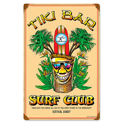 Tiki Bar Surf Club Metal Sign Vintage Tropical Hawaiian Decor 12 x 18