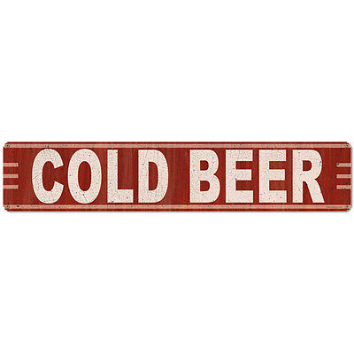 Cold Beer Horizontal Steel Sign Crimson Red Man Cave Vintage Bar Decor 28 x 6