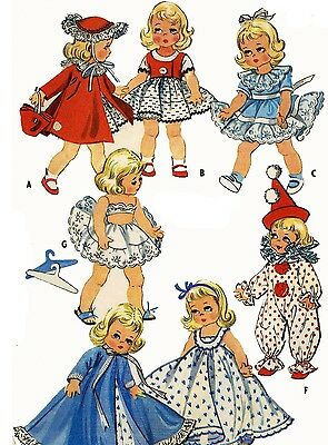 Vintage Doll Clothes Pattern 2150 for 7 8 inch Ginny Wendy Muffie by Vogue