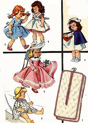 Vintage Doll Clothes Pattern 2057 for 9 10 inch Ginny Wendy Muffie by Vogue