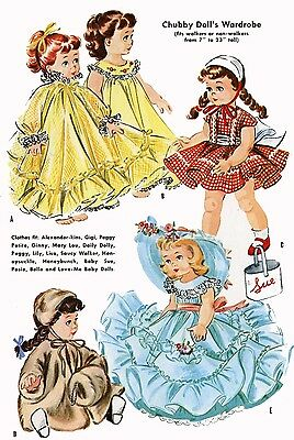 Vintage Doll Clothes Pattern 2084 for 7 8 inch Ginny Wendy Muffie by Vogue