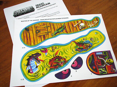 MOTU Masters of the Universe replacement stickers / decals  for SNAKE MOUNTAIN