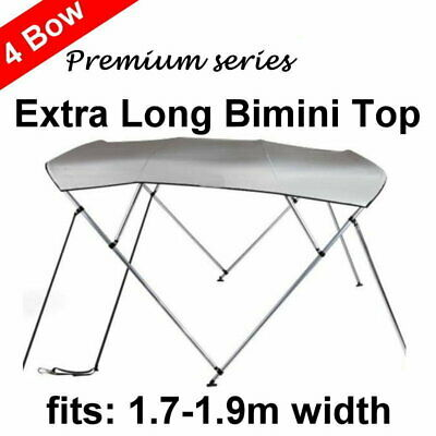 240cm Extra Long 4 Bow 1.7m-1.9m Boat Bimini Top Canopy Cover 130cm height Grey