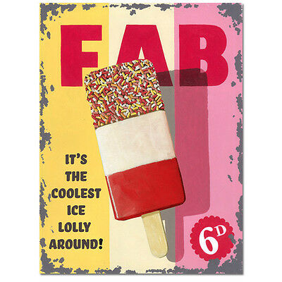 Fab Ice Lolly Metal Sign Vintage Diner Ice Cream Parlor Style Wall Decor 12 x 16