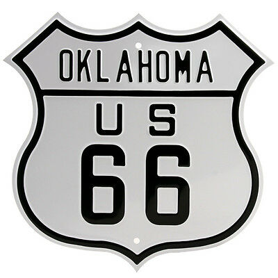 Route 66 Oklahoma Metal Sign Embossed Highway Shield Garage Decor 15 x 15