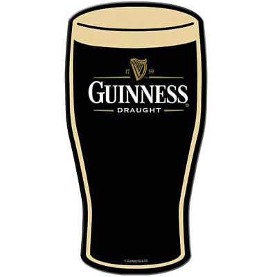Guinness Draught Pint Glass Metal Sign Flat Color Metal Bar Beer Decor 8.75 x 17