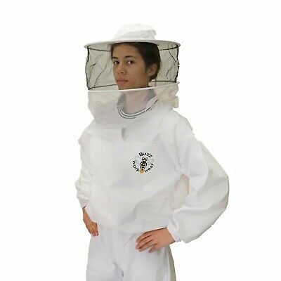 [UK] Buzz Work Wear Beekeeping White Pullover Round Veil Tunic- Size: Childs L