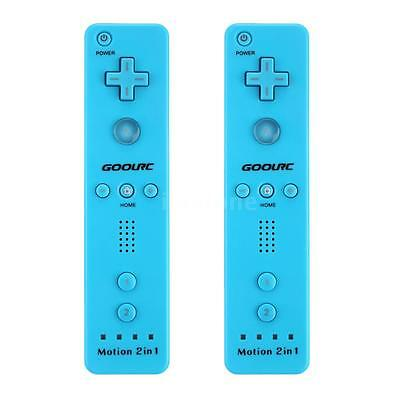 LOT 2 BUILT IN MOTION PLUS REMOTE CONTROLLER + CASE FOR NINTENDO WII BLUE US