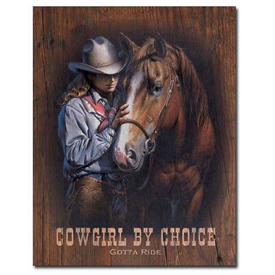 Cowgirl By Choice Gotta Ride Horses Tin Sign Country Farm Decor 12.5 x 16