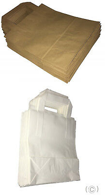Kraft Paper Carrier Bags With Flat Handles Small Medium Large 80GSM Brown/White
