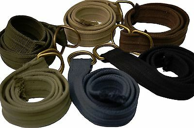 Mens Assorted Colors Thick Canvas Web Belt With D-Ring Closure
